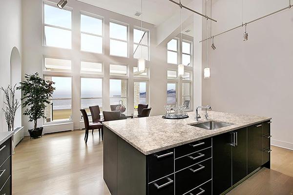 light countertop dark cabinets