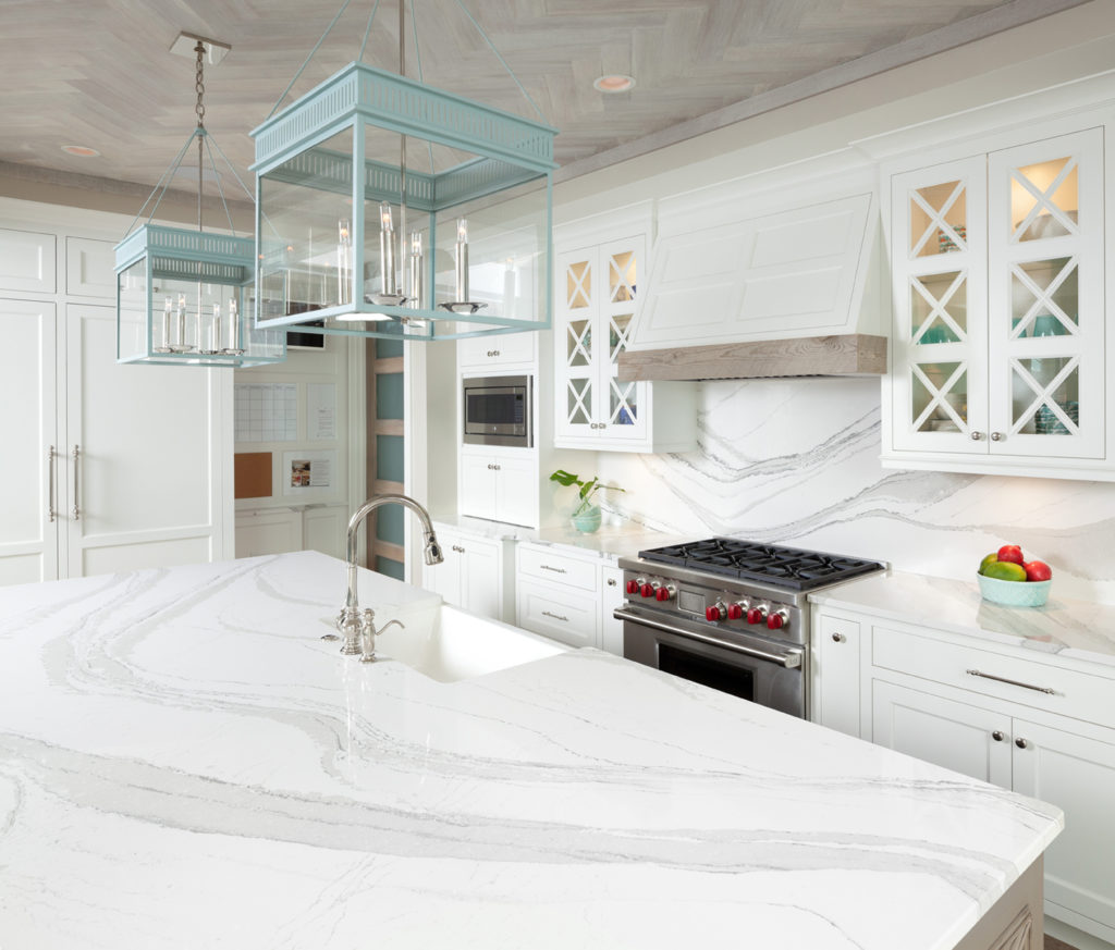 Quartz countertop island from cambria
