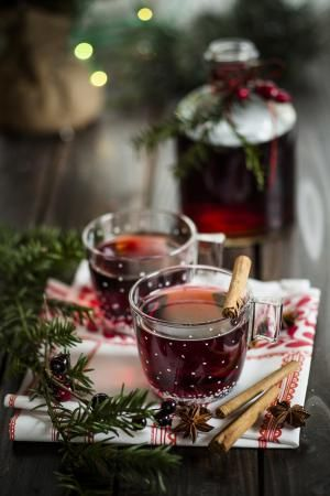 Mulled wine with spices, studio