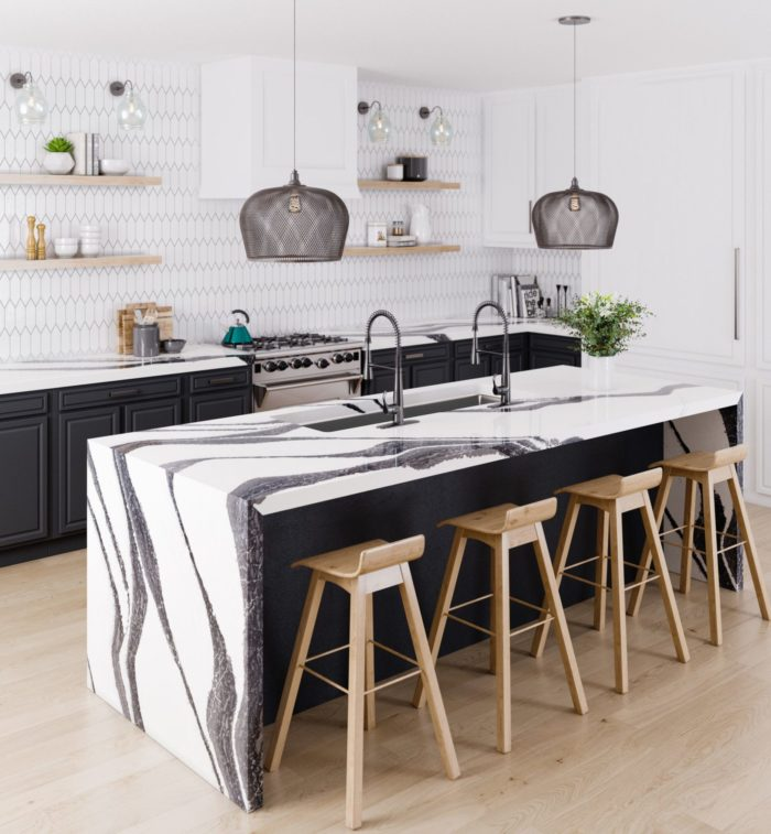 Quartz countertops from cambria in a light kitchen with black cabinets